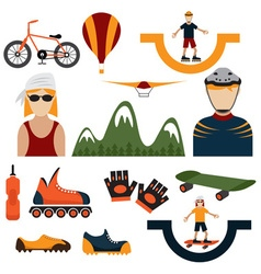 Flat design icons of extreme sport theme vector
