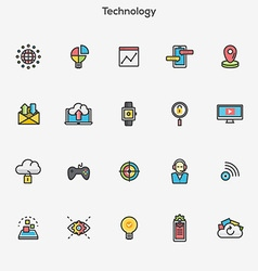 Flat line color icons technology vector
