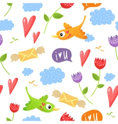 Romantic seamless pattern with birds hearts vector image