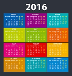 2016 calendar in the style of colorful card vector