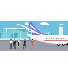 Boarding the plane flat design vector