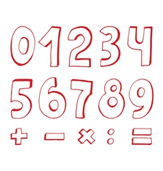 Set of red numbers vector