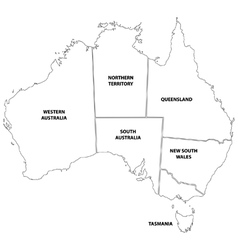 Outline map of the states of australia vector