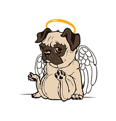 Pug puppy angel vector