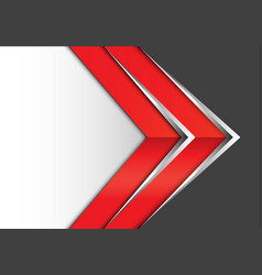 abstract red silver arrow on gray white modern vector image