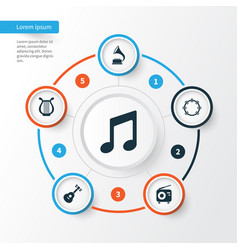 Audio icons set collection of music phonograph vector