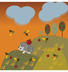 Autumn fantasy landscape with hedgehog vector