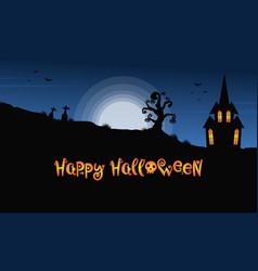 Background halloween night with castle vector