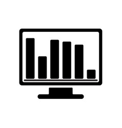 bar chart monitoring icon vector image