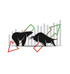 Bull and bear symbols of stock market trends the vector