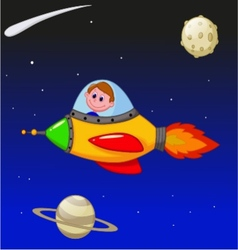 Cartoon boy astronaut in the spaceship vector image