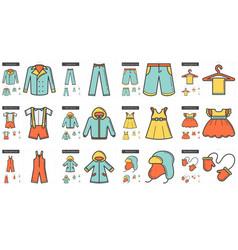 Clothes line icon set vector