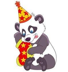 cute xmas cartoon panda vector image vector image