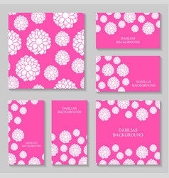 dahlias flowers background set on pink background vector image vector image