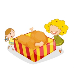girl and chicken vector image vector image