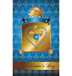 Golden Valentine background with diamond heart vector image