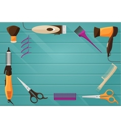 Hairdressing salon barbershop tools flat vector