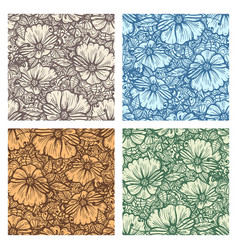 Hand drawn flower seamless pattern set vector
