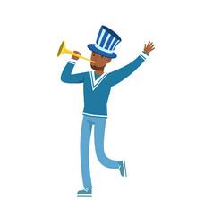 Happy football fan character in blue hat vector