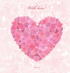 Invitation card with love a flower heart of vector