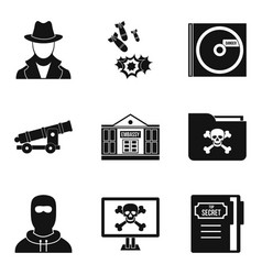 Misdoing icons set simple style vector