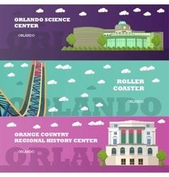 Orlando tourist landmark banners set vector