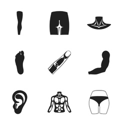 Part of body set icons in black style big vector