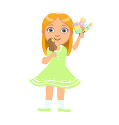 Pretty baby girl kid holding ice cream a colorful vector
