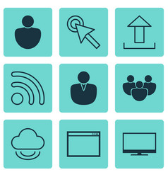 Set of 9 internet icons includes program human vector