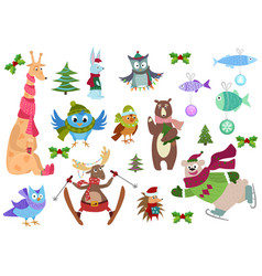 Set of adorable christmas winter animals and fish vector