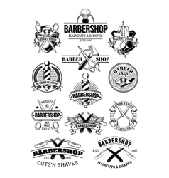 set of barbershop logos signage vector image vector image