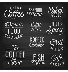 Slogans chalkboard food wine vector