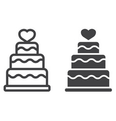Stacked love cake line and glyph icon vector