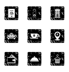 Staying in hotel icons set grunge style vector