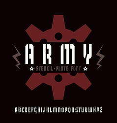 Stencil plate sanserif font in military style vector