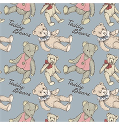 teddy pattern blue vector image