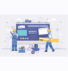 two cartoon builders holding and carrying repair vector image vector image