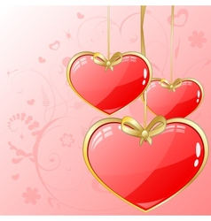 Volume hearts with gold ribbon vector image vector image
