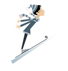 young woman a ski jumper isolated vector image vector image