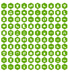 100 rags icons hexagon green vector