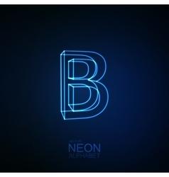 Neon 3d letter b vector