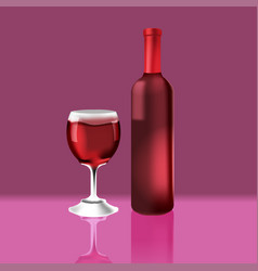 Bottle red vine glass luxury vector