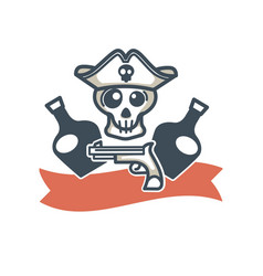 jolly roger pirate icon flag skull and vector image