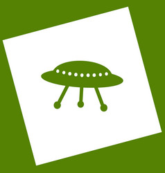 Ufo simple sign  white icon obtained as a vector