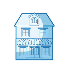 Blue shading silhouette of house with two floors vector