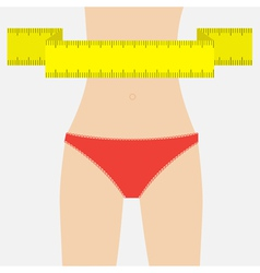 Woman figure waist red underwear measuring tape vector