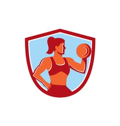 Female lifting dumbbell shield retro vector