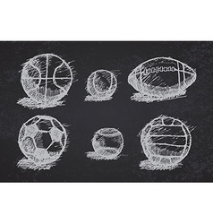 Ball sketch set with shadow on the ground on vector