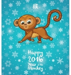 New year with cartoon monkey-symbol vector