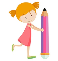 Little holding giant pencil vector